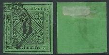 1851 GERMANIA ANTICHI STATI WURTTEMBERG USATO CIFRA 6 K - G41