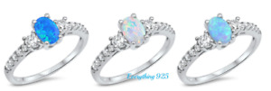 Sterling Silver 925 PRETTY OVAL DESIGN BLUE, WHITE LAB & L-BLUE RINGS SIZES 3-13