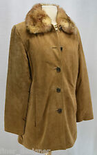 Bernardo Suede Leather Jacket Button coat removeable winter lining fur collar S
