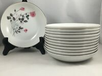 "Set of 12 Arita China Japan Pink Rose Flower 5 3/4"" Berry Fruit Sauce Bowls"