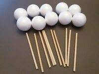 NEW sweet tree pk of 10 x 55mm balls and 15cm dowels enough for 10 small trees