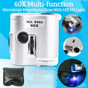 60X Microscope Magnifier Glass Jeweler Detector Loupe Len with LED UV Light UK