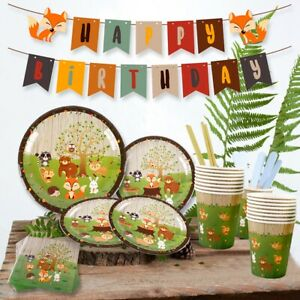 Woodland Animal Paper Tableware Baby Shower Kids Birthday Party Camping Decor