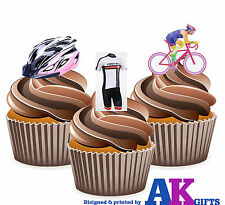 Bicicleta Casco para ciclismo Ciclistas Rosa Mix - 12 comestible cup cake toppers decorations