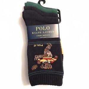 Polo Ralph Lauren Boys Football Bear Socks Size 9-11 (Shoe 4-10) 3 Pair Socks