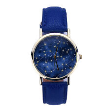 Women Star Pattern Retro Leather Strap Bracelet Sports Analog Quartz Wrist Watch