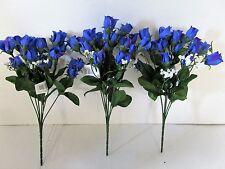 Confezione di 3 artificiali Blu Mini Rosa V. con Gypsophila Spray