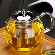 600-1300ml Clear Glass Teapot Tea Leaf Pot with Stainless Infuser Filter &
