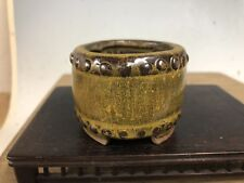 "Mame Or Accent Size Bonsai Tree Pot Made By The Tosui Kiln 2 1/2"" Yellow Glazed"