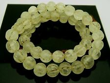 Vintage Tibetan Himalayan Quartz Melon Cut Round Gemstone Beads 10mm Necklace