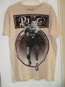 NEW THE RING BOXING MAGAZINE T SHIRT BEIGE CLASSIC COVER X LARGE CHUCK ZITO SR