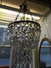 ABSOLUTELY GORGEOUS VICTORIAN LEAD CRYSTAL BRONZE CHANDELIER BRASS UNUSUAL