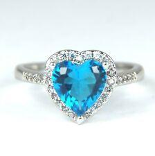 Para Mujer de Oro Blanco Plateado Anillo de cristal corazón azul