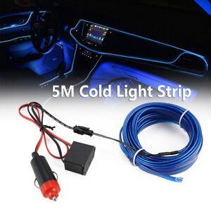 5M 12V Car Interior Decorative Atmosphere Wire Strip Light Blue Lamp Accessories