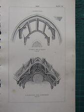 1850 ANTIQUE GOTHIC ARCHITECTURE PRINT ROOF PERPENDICULAR GODSHILL ATHELHAMPTON