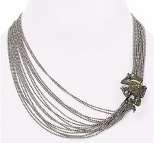 ALEXIS BITTAR MULTI STRAND FROG NECKLACE $325 PAVE OLIVE GREEN CRYSTALS NWT NEW