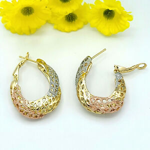 Tri Color Gold Plated Women's Jewelry Hoops Earrings. Coquetas Oro laminado