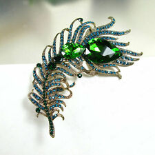 Green Feather Wedding Bridal Bouquet Rhinestone Crystal Pin Brooch Alloy Craft