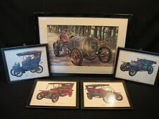 "Vintage Framed And Matted ""Old 16"" 1906 Locomobile Plus 4 others Antique cars"