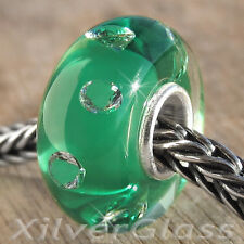 GLASS BEAD STERLING SILVER 925 CHARM WHITE ZIRCON ON GREEN STUNNING QUALITY !