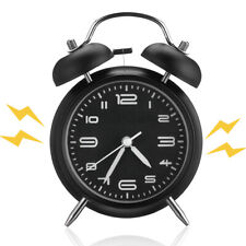 Vintage Extra Loud Alarm Clock Twin Bell Battery Analogy Backlight Bedroom Black