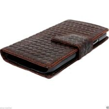genuine leather case for samsung galaxy s5 book wallet cover brown slim magnet 5