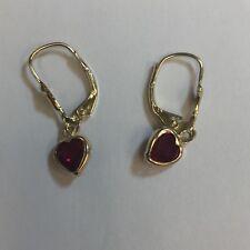 Ruby heart earrings set in 14K Yellow Gold leverback settings
