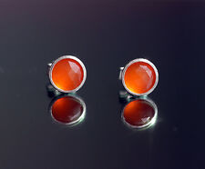 Sterling silver stud earrings with 5mm natural faceted Carnelian gemstones