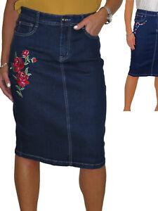 NEW Stretch Denim Jeans Skirt Embroidered Floral Design Indigo Dark Blue 12-22