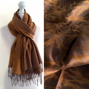 Large Bronze Gold Brown Pashmina Scarf Wrap Evening Shawl Long Reversible Cotton