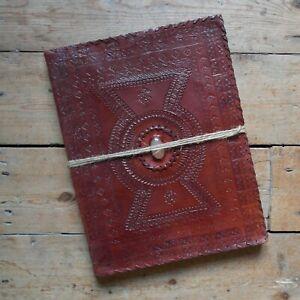 "13"" Real Leather Handmade Vintage Sketchbook Scrapbook Journal - Pale Oval Stone"