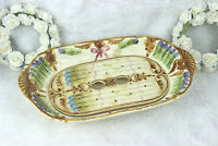 Antique French Mouzin Nimy majolica barbotine asparagus serving tray marked