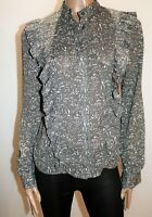OSCAR - ST Brand Grey Floral Frill Front Blouse Top Size M LIKE NEW #AN02