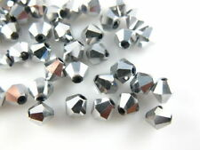Bulk 50pcs Silver Plated Glass Crystal Faceted Bicone Beads 6mm Spacer Findings
