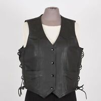 RIDER ROAD Womens Leather Motorcycle Vest L Large Black Laces