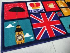 Multi London Design Rugs for Bedroom Lounge - Anti-slip Carpet / Mat 137x49 cm