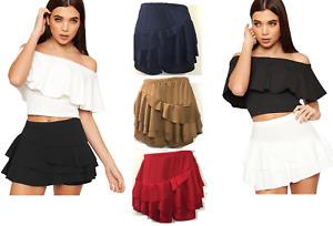 Womens Layered Ruffled Rara Skorts Ladies Side Frill Peplum Mini Skirt Shorts