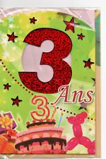 Carte voeux.Joyeux Anniversaire.3 Ans.Gâteau et ballons.17 x 11,5 cm