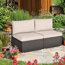 2PCS Patio Sectional Armless Sofas Outdoor Rattan Furniture Set w/ Cushions