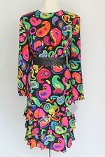 Louis Feraud Silk Print 80's Dress Bright Multi Paisley Long Sleeve NWT UK 16/18