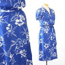 vintage 80s 40s blue floral orchid Hawaiian shirt beach party midi dress S