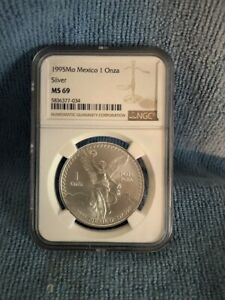 1995 MEXICO SILVER LIBERTAD 1 ONZA NGC MS 69 TOP POP NONE GRADED HIGHER !!!!
