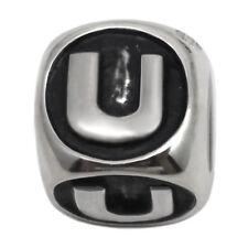 Letter U Sterling Silver Alphabet Charm Bead for Personalized Bracelet Necklace