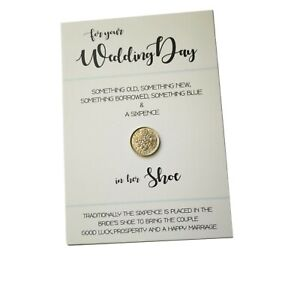 White & Blue Wedding Card Shiny Real Lucky Sixpence Gift in Her Shoe Bride