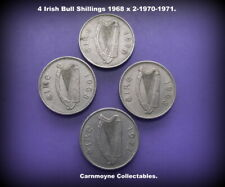 4 Irish Bull Shillings 1968 x 2 - 1970-1971.AH9110.