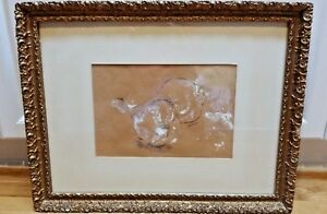 Donald Louthian 1956 signed still life pear drawing brown paper beautiful frame!