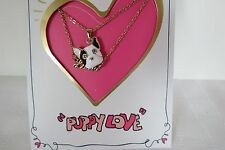 Genuine Betsey Johnson Gifting Frenchie Puppy Love Two Row Necklace New On Card