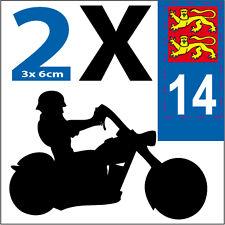 2 stickers style plaque immatriculation moto Département CALVADOS 14