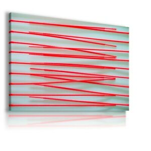 RED STRAW STRIPES PATTERN MODERN ABSTRACT CANVAS WALL ART PICTURE WS170 UNFRAMED