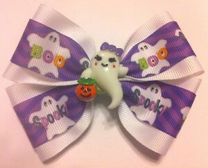 """Girls Hair Bow 4"""" Wide Halloween Ghost Purple White Ribbon French Barrette"""